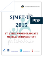 SJMET UG 2015 ST. Johns MBBS entrance exam notification