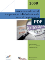 French Temporary Recruitment Agencies & Liberalisation Of Market For Job Placements (French)