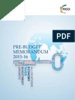 Ficci Pre Budget Memorandum 2015 16