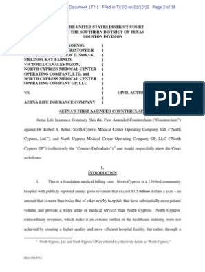 Aetna's First Amended Counterclaim | Radiation Therapy
