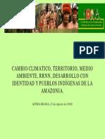 CAMBIO CLIMATICO, TERRITORIO, MEDIO AMBIENTE, RRNN, DESARROLLO CON IDENTIDAD Y PUEBLOS INDÍGENAS DE LA AMAZONIA.