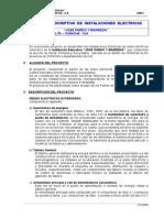 Memoria descriptiva de las Instalaciones Eléctricas del Colegio Jose Pardo y Barreda, para su reforzamiento antisismico.