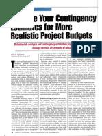 Improve Contingency Estimates Budget