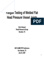 Fatigue Testing of Welded Flat Head Pressure Vessel Joints