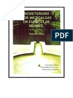 biodeterioro por microalgas en fuentes de marmol
