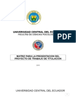 MATRIZ PARA LA PRESENTACION DEL PROYECTO DE TRABAJO DE TITULACION