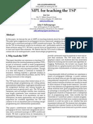 TSP Problem in AMPL | Linear Programming | Mathematical Optimization