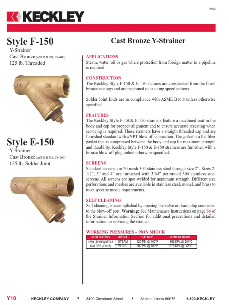 20 Mesh 3-3//16 Length Cast Iron KECKLEY 3//8 Y Strainer Threaded