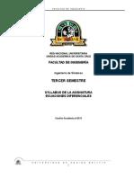 Syllabus ECUACIONES DIFERENCIALES