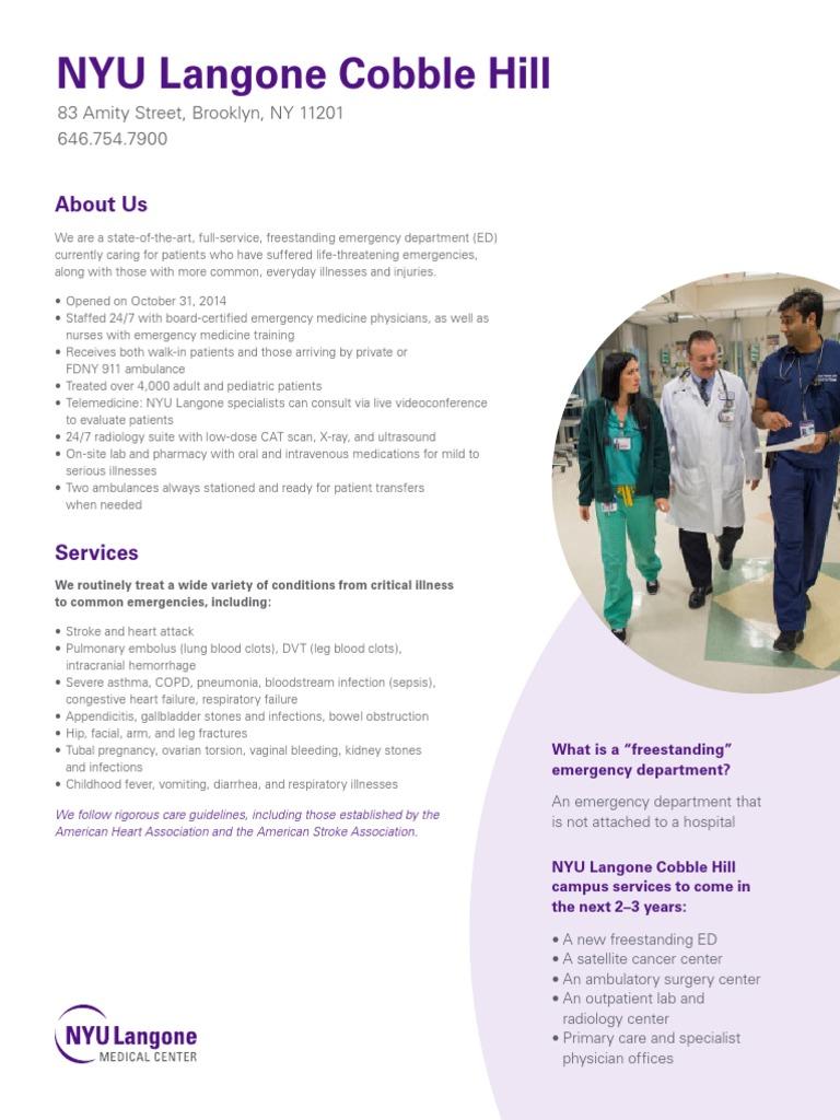 NYU Langone Cobble Hill Fact Sheet   Emergency Department
