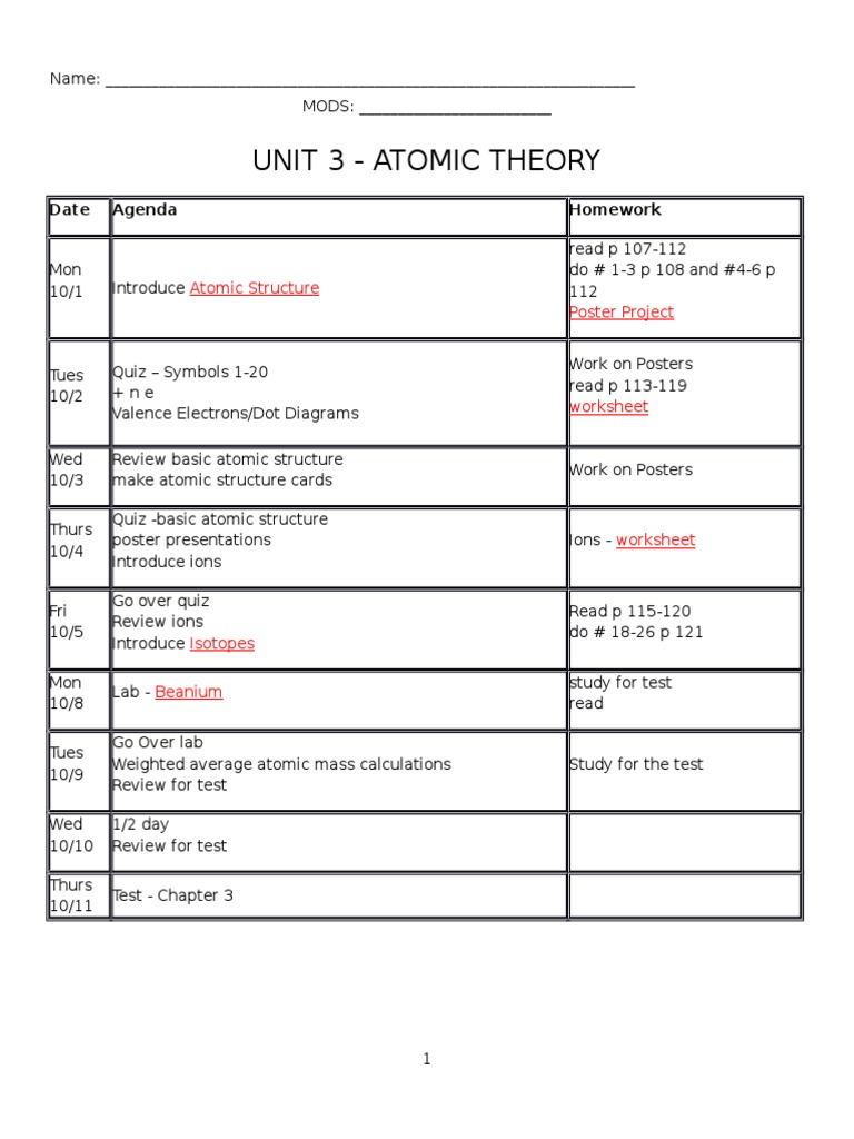 Worksheets Isotopes Worksheet packet unit 3 atomic structure answers chemistry chemical elements isotope