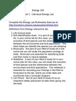 Biology 100 Lab Definitions