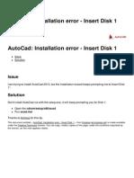 Autocad Installation Error Insert Disk 1