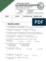 Math 8 First Mid-Exam (2014-2015)