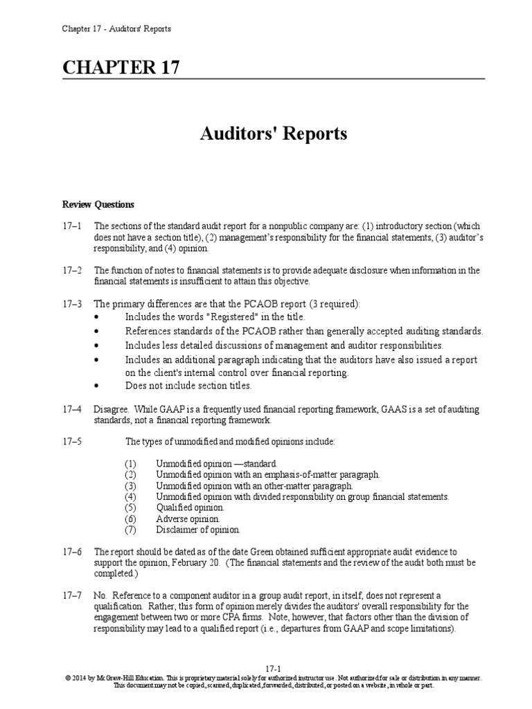 Whittington Audit Chapter 17 Solutions Manual | Auditoru0027s Report |  Financial Audit