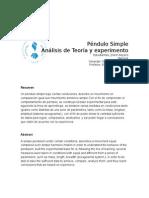 Análisis péndulos simple teoría y experimento 1 -Física, Vibraciones y Ondas