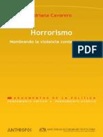 Adriana Cavarero - Horrorismo - Nombrando La Violencia Contemporánea