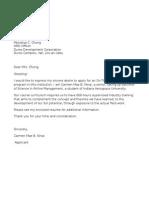 Application Letter Ojt