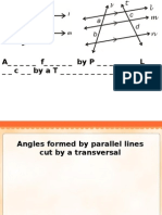 Angles formed by parallel lines cut by a transversal