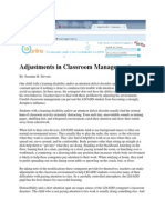 adjustments in classroom management