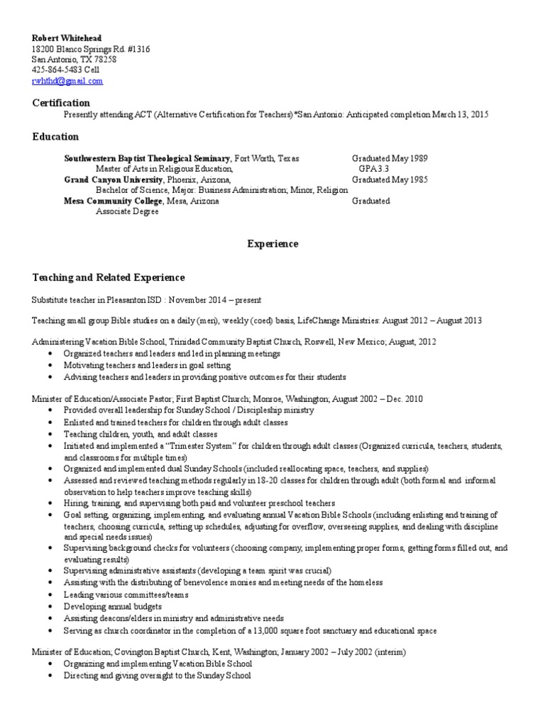 Rw Resume For Act Sunday School Southern Baptist Convention