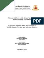 Filling of Estate Tax Form (TAX02) 1