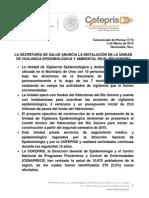 05-03-15 La Secretaría de Salud anuncia la Instalación de la Unidad de Vigilancia del Río Sonora