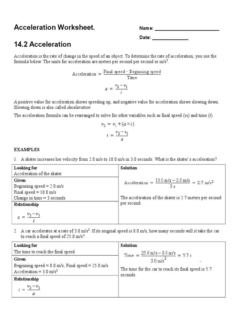 worksheet Acceleration Problems Worksheet dsfghgfdgds acceleration speed