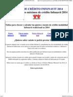 Tablas de Montos Máximos de Crédito Infonavit 2014