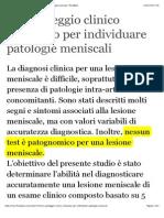 Un Punteggio Clinico Composto Per Individuare Patologie Meniscali
