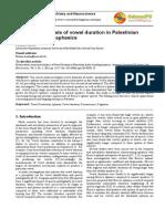 Acoustical Analysis of Vowel Duration in Palestinian Arab Speakers - 2014