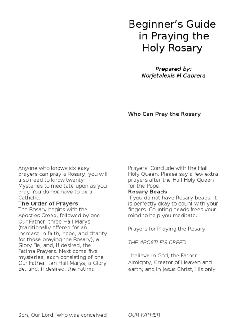 Beginner\'s Guide in Praying the Holy Rosary | Rosary | Lord\'s Prayer