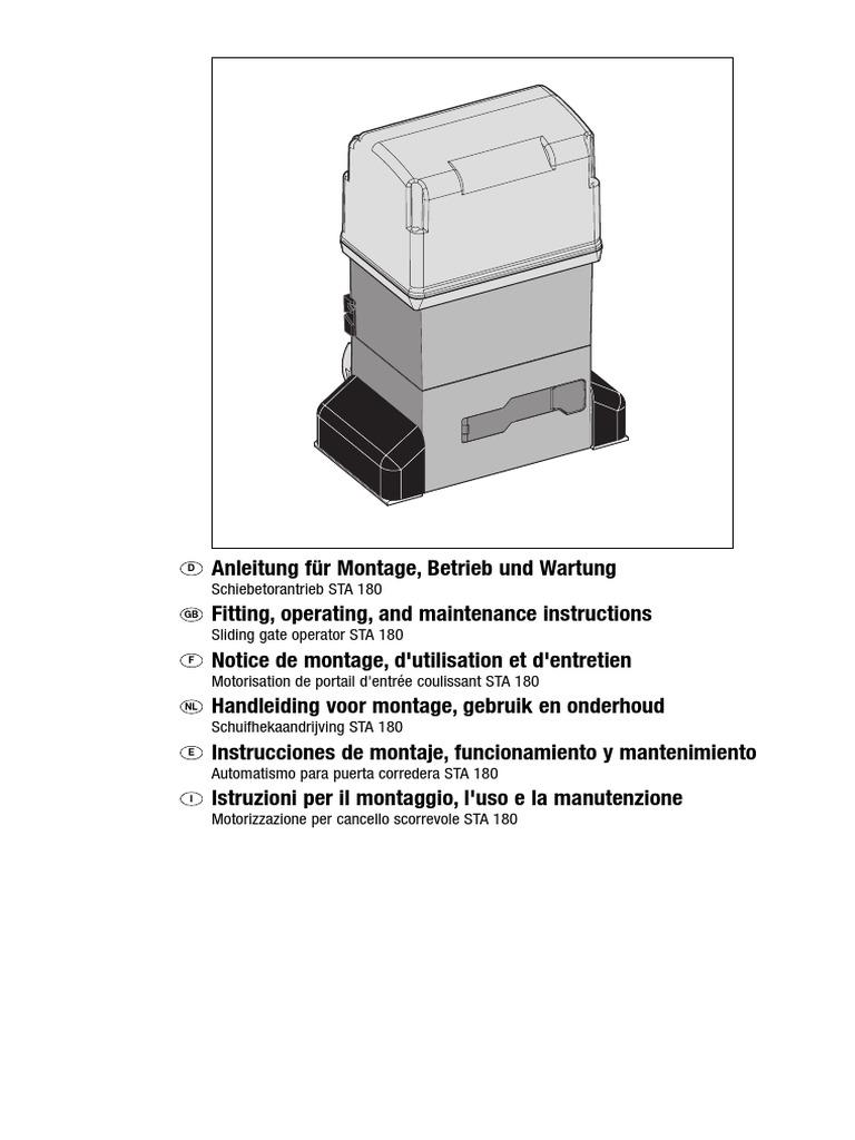Schemi Elettrici Hormann : Manual hormann sta 180