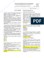 Prova 1 - Primeiro Bimestre - Língua Portuguesa - Segundão - Modelo B