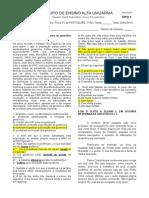 Prova 1 - Primeiro Bimestre - Língua Portuguesa - Eliane e Alessandro - Primeirão - Modelo A