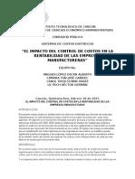 El Impacto Del Control de Costos en La Rentabilidad de Las Empresas Manufactureras