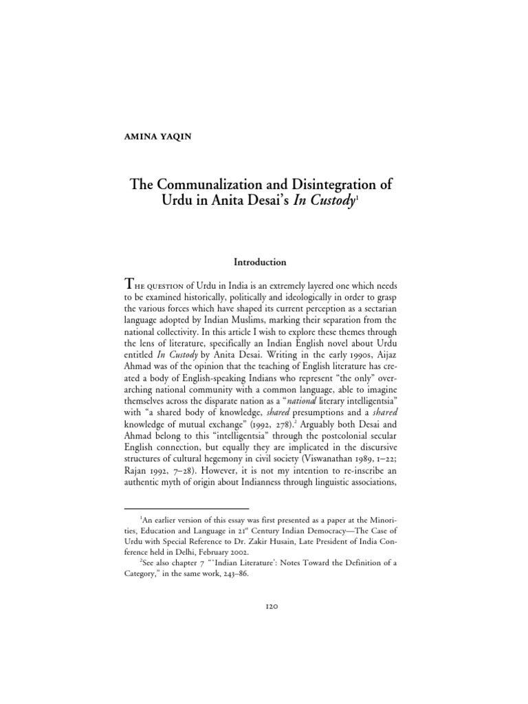 The Communalization and Disintegration of Urdu in Anita Desai's In Custody  | Urdu | Languages