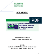 Relatório III Congresso Nacional de Segurança e Saúde no Trabalho Portuário e Aquaviário