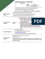 u9l7 - the quadratic formula lesson plan