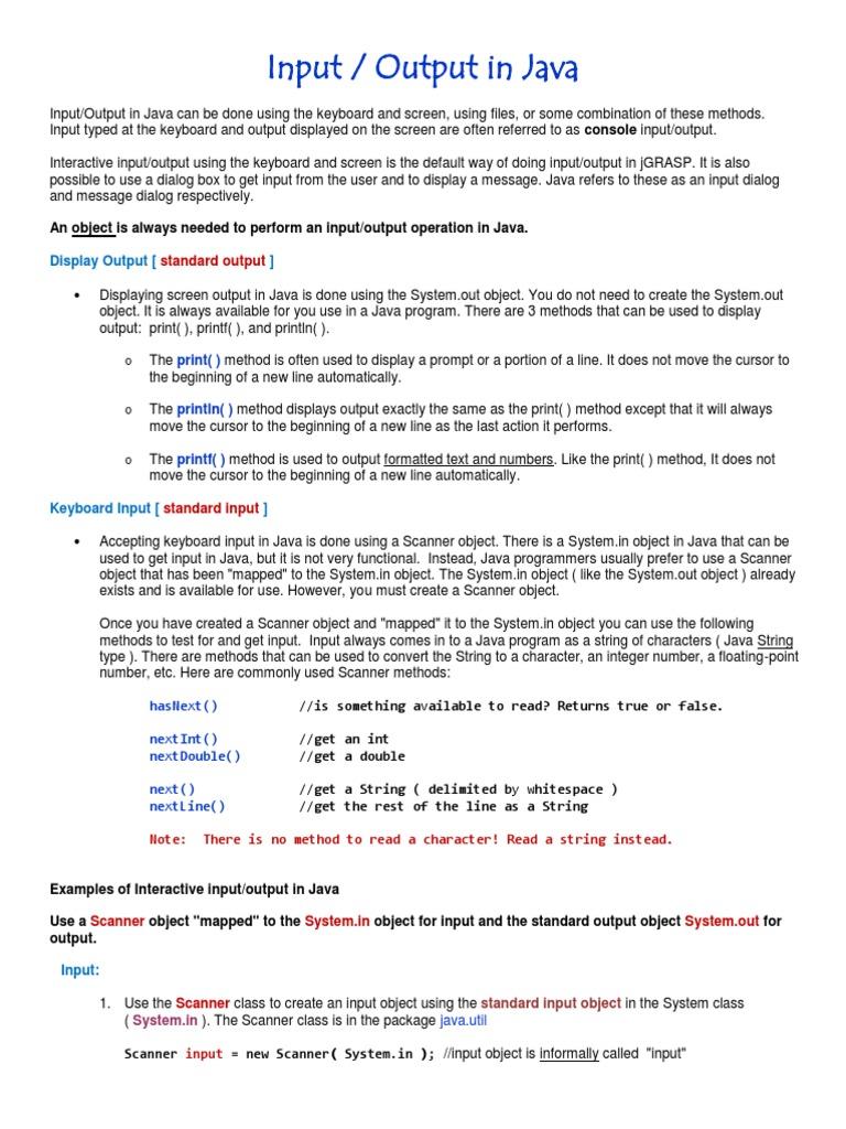 Input output in java java programming language inputoutput baditri Gallery