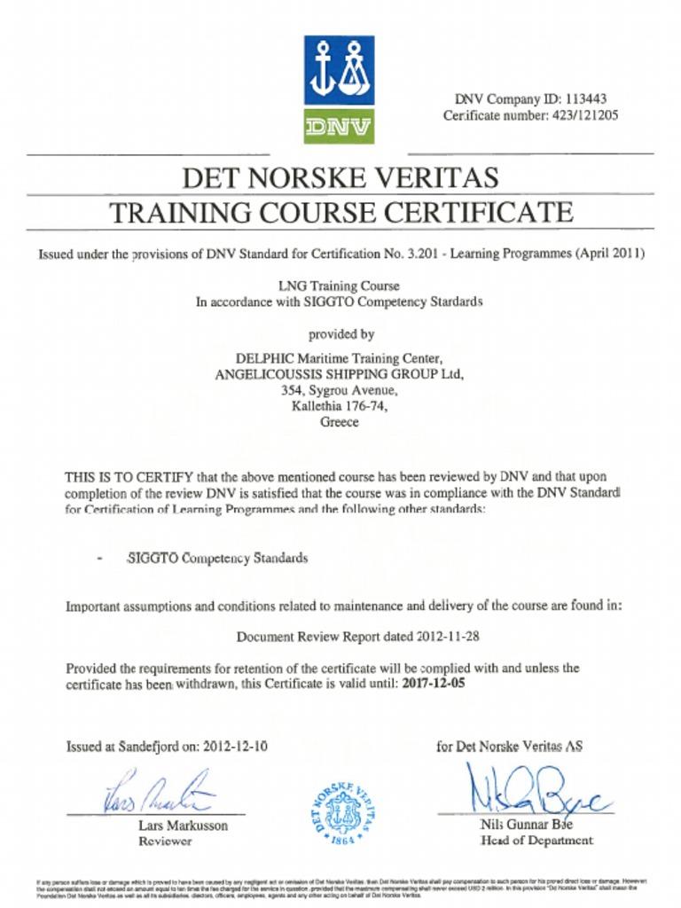 certificate dnv