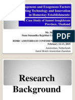 Endogenous and Exogenous Factors for E- Marketing Technology and Innovation in Homestay Establishments