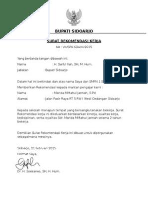 Contoh Surat Rekomendasi Kerja Bupati