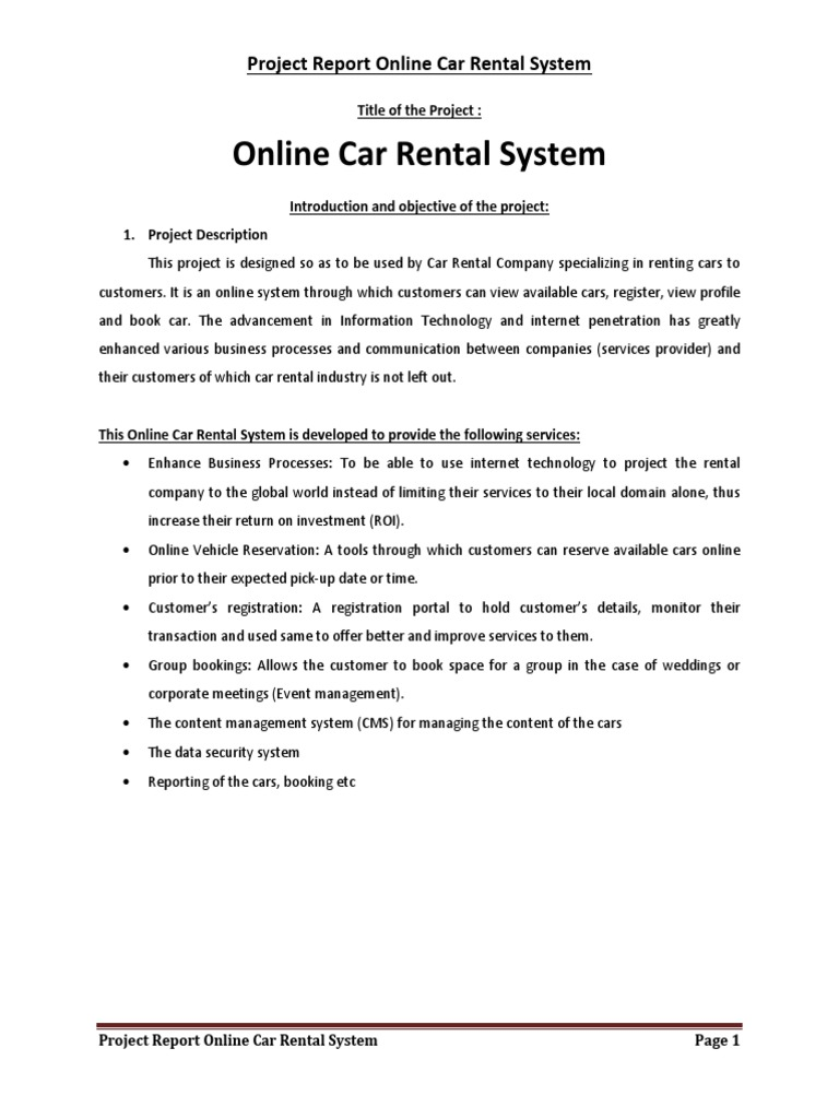 Php and mysql project on car rental system project report model view controller databases