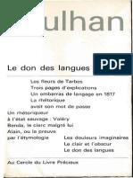 Jean Paulhan Les Fleurs de Tarbes