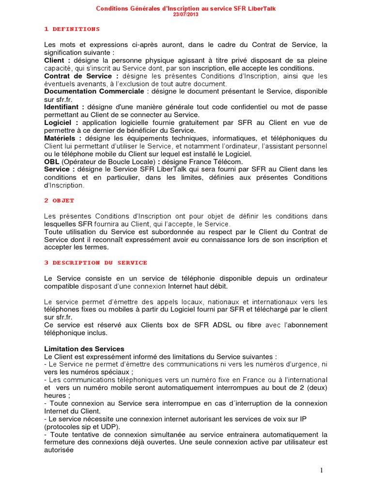 Conditions Generales Sfr Libertalk 20 Juillet 2013