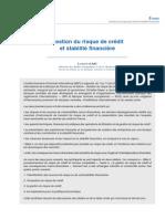 revue de la stabilité financière - gestion du risque de crédit et stabilité financière