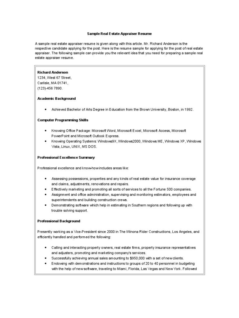 1514241858v1 - Commercial Appraiser Sample Resume