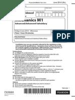 June 2014 (IAL) QP - M1 Edexcel