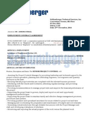 Schlumberger Contract Agreement   Trade Secret   Employment